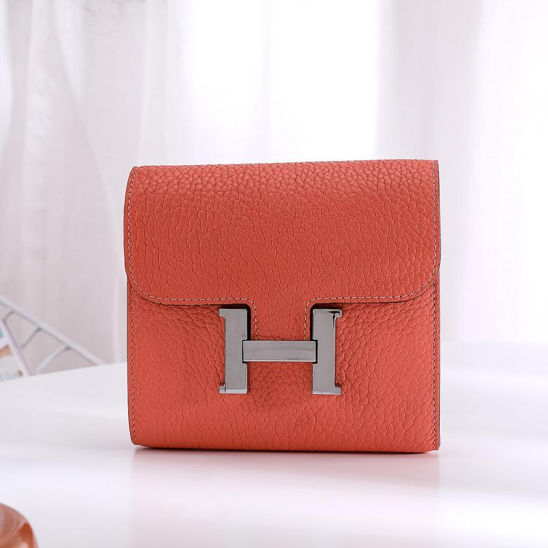 Charm2019 H Genuine Leather Short Paragraph Wallet