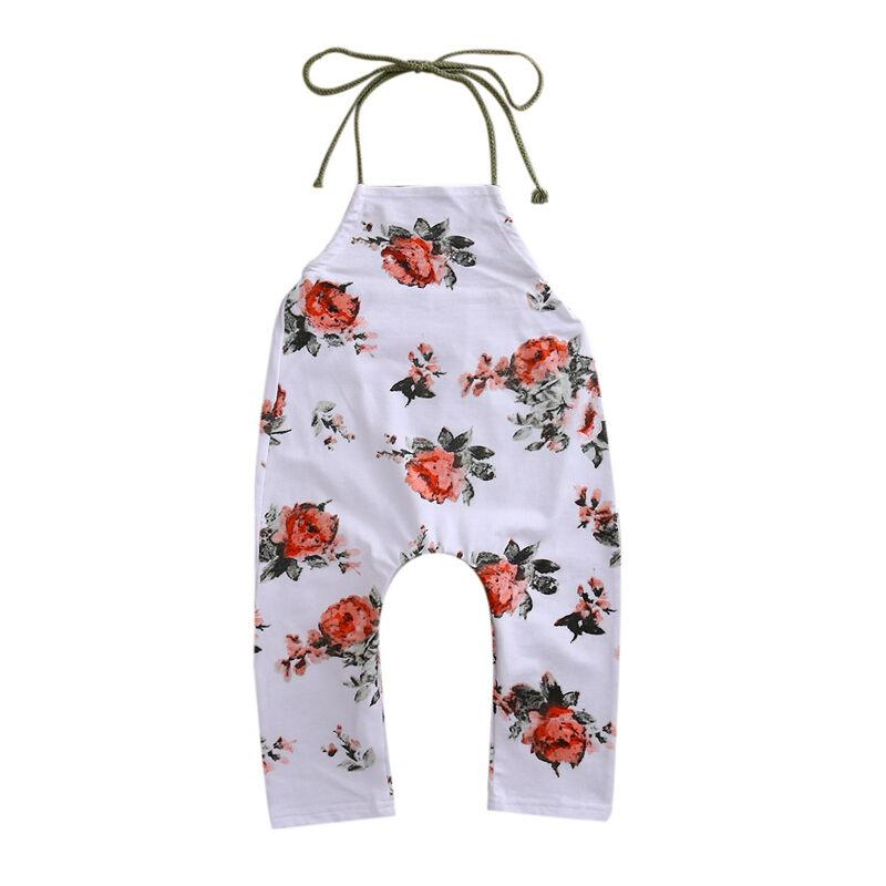 Summer Kids Girls Floral Romper Baby Girls Sleevless Halter Mameluco mono Traje Sunsuit Niño Ropa Casual