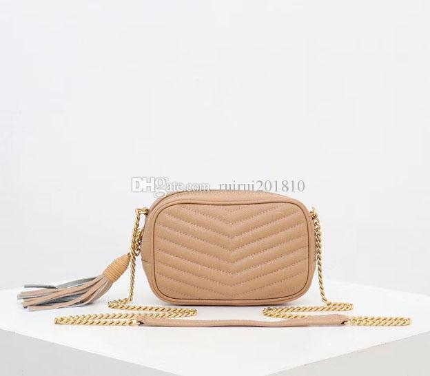 New top designer bag fashion grain shoulder bags stripe sewing messenger cross body chain bag fashion small square bag complete package 1997
