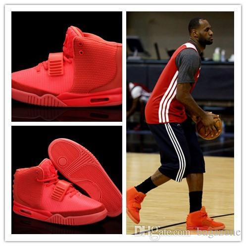 (Avec la boîte) de haute qualité Hot vente Kanye West 2 Red NRG RED ROSE Basketball Chaussures Homme Chaussures II Glow Dark Zone