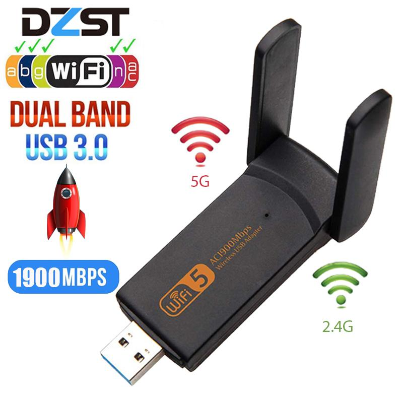 Networking Network Cards DZLST Wifi Adapter 1900M 2.4G 5G Dual Band Wifi USB 3.0 Fee Driver LAN Ethernet 1200M Network Card wireless
