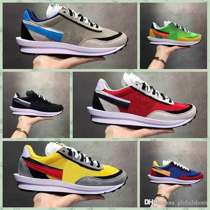 Nike Waffle AR8001 caliente mejor calidad Sacai Waffle Trainer alba Runner retro zapatillas de deporte de hombres y mujeres corredor deporte calzado transpirable Tenis SIZE36-45