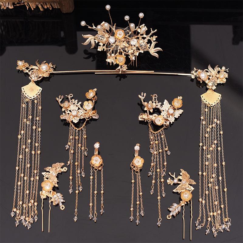 cocar de noiva tradicional cocar chinês Phoenix coroa de luxo do casamento clássico acessórios para o cabelo