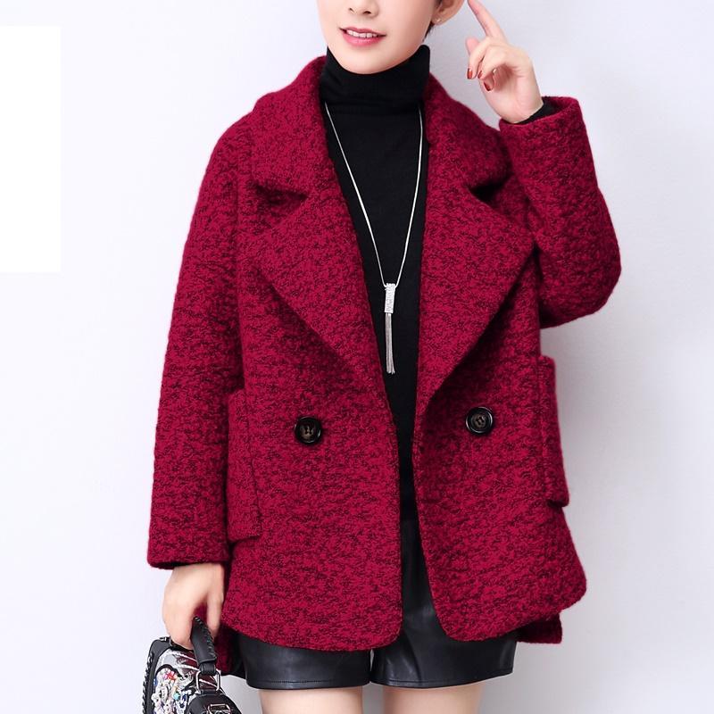 قصيرة معطف من الصوف الإناث الكورية قمم خريف شتاء جديد تويد المرأة المألوف الإناث الملابس فضفاضة عباءة السيدات معاطف 1079