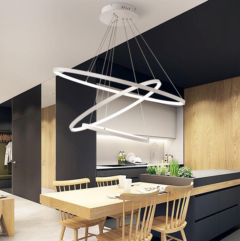 Modernos circulares pingente anel de luzes 3/2/1 Iluminação LED corpo Círculo Anéis Acrílico Alumínio lâmpada do teto Luminárias para Living room