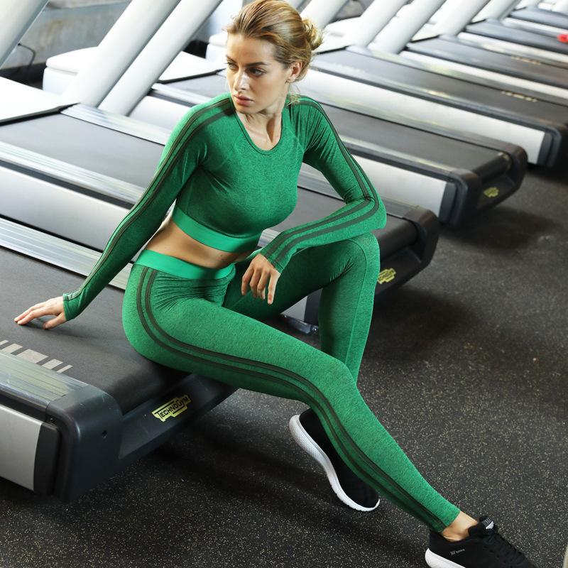 2pcs Woman Yoga Set, Long Sleeve Tops Sport Suit, Gym Fitness Tracksuit Clothing,lady Compressed Workout Shirt Pants Set 1852 Y190508