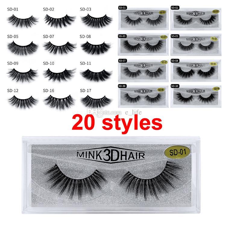 2020 nuevo maquillaje 3D Mink ojo pestañas de visón pestañas postizas suave natural grueso de las pestañas falsas pestañas 3D Herramientas de belleza de extensión libre de DHL