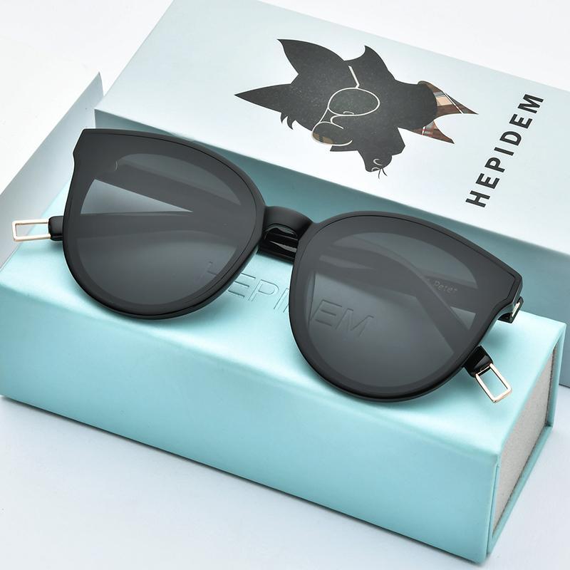 HEPIDEM New Acetate Round Sunglasses Retro Men Gentle Brand Designer Sun Glasses for Women Vintage Mirrored UV400 Black