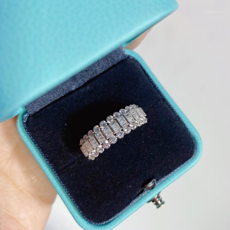 Кольца Три ряда Полный Кольца с бриллиантами ювелирные изделия стерлингового серебра S925 для High Jewelry Женской Christmas Party Gift1