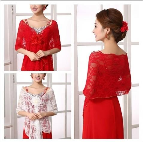 Free shipping Newest style hot sell bride shawl lace flower wraps Jackets wedding dress accessories