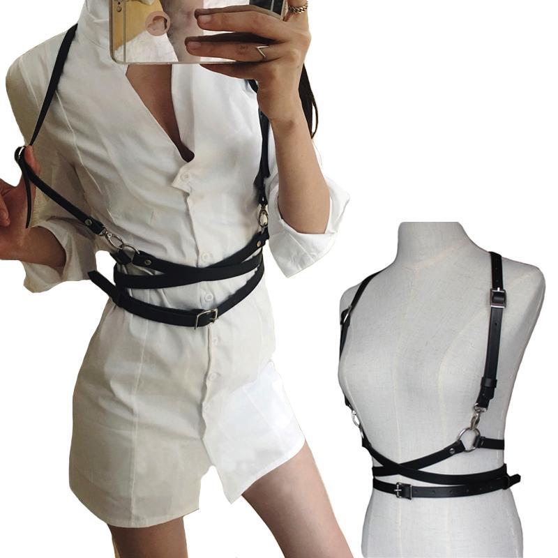 Fashion Punk Harajuku metal Pin buckle Leather belts Body Bondage Cage Sculpting Harness Waist Straps Suspenders Belt for women C19010301