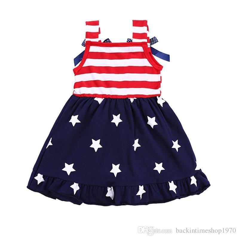 Amerikan Bağımsızlık Günü Çocuk Elbise Kız Yaz Amerikan Bayrağı Kolsuz Yelek Çizgili Elbise Prenses Yıldız Baskı Bayrak Elbiseler
