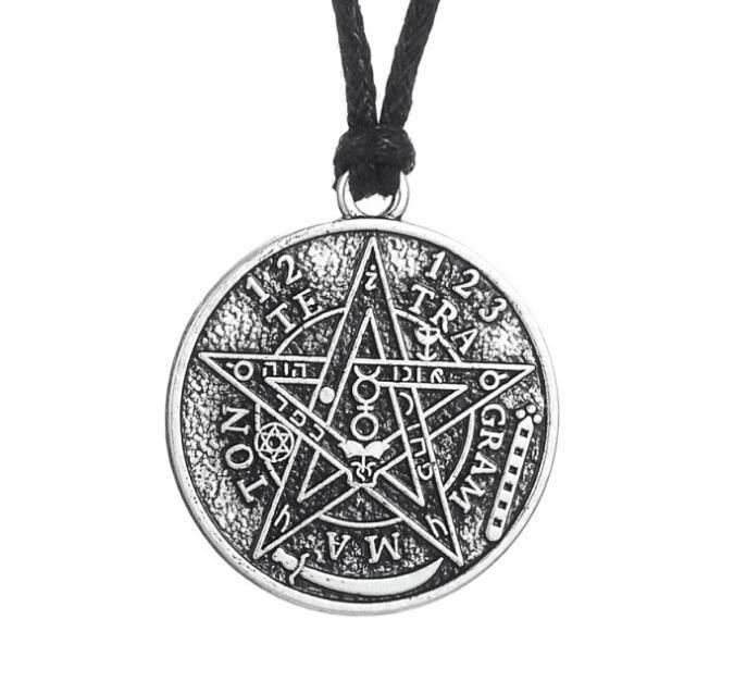 Sigillo Wiccan Pentacle Pentagram Tetragrammaton Dichiarazione Pendenti di collana Choker Linea di cera Vintage Gioielli in argento per il regalo delle donne