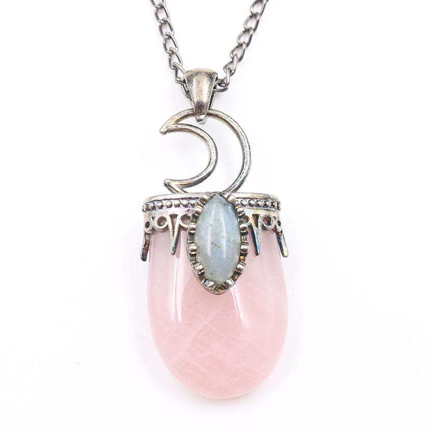 10 pezzi Crescent Moon Catena della collana di Marquise monili di figura della labradorite pendente della pietra Aventurine verde di stile dell'annata