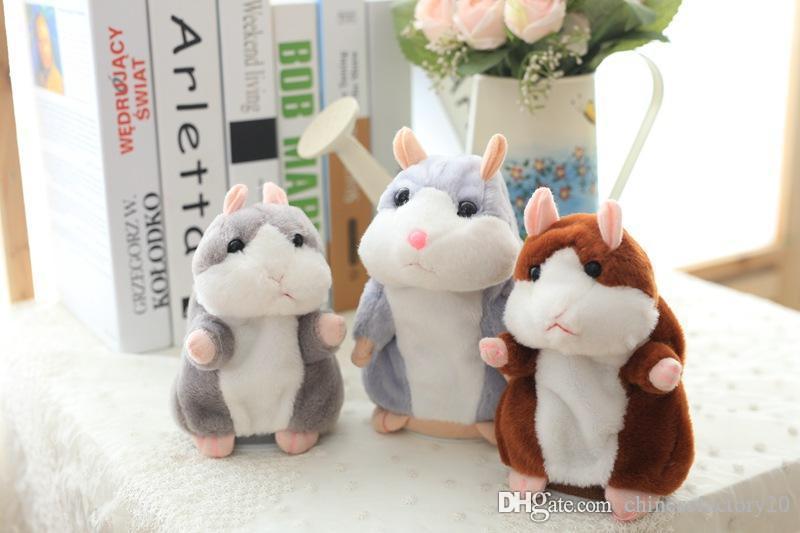 Falando hamster rato de pelúcia brinquedo de estimação presente de natal bonito 15 cm anime boneca brinquedos kawaii falar falando registro de som hamster presentes dos miúdos
