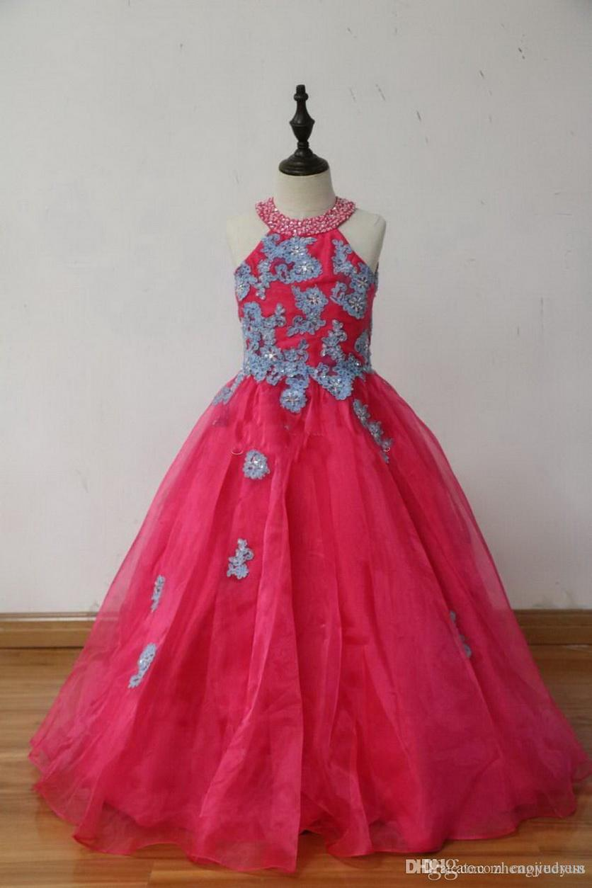100% imagen real! Vestidos de fiesta de cumpleaños de color rosa fucsia del Organza niñas desfile de vestidos de cuello redondo Apliques ojo de la cerradura Volver Navidad de los niños
