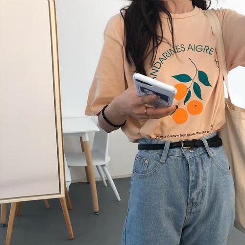 Простой Cute Orange Printed письмо Хлопок Сыпучие Свежее Винтажная колледжа Ветер Короткие рукава Женские футболки