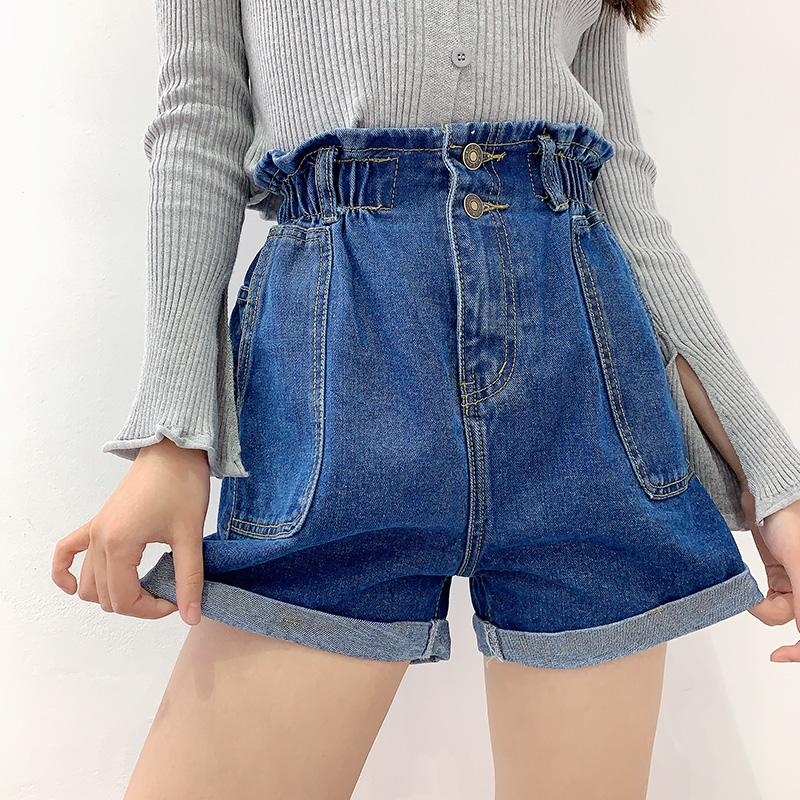 Semplice SeeBeautiful elastico vita alta Lace Up tasca applicata denim shorts donna estate 2020 Il nuovo modo di marea L679
