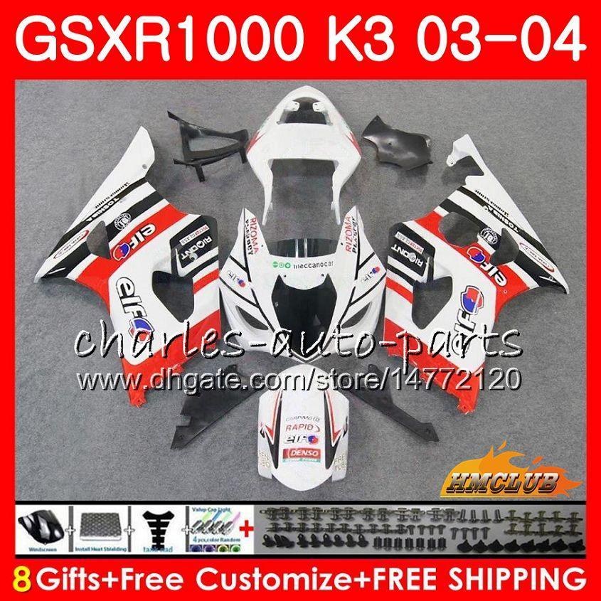 Rama dla SUZUKI GSX-R1000 GSXR 1000 GSXR1000 03 04 Body 15HC.56 Bodyork gorąca Biały Nowy Nowy GSX R1000 K3 GSXR-1000 03 04 2003 2004 Łamyki