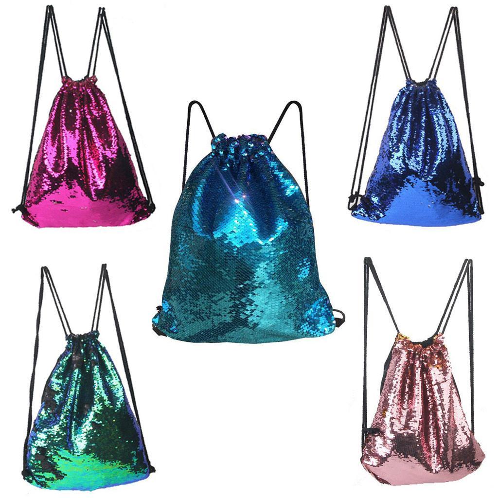 Sequin-Rucksack Glitter Cinch Pack Taschen Flip Pailletten-glänzender Sport Rucksack für Kinder Erwachsene High Capacity Reisetaschen