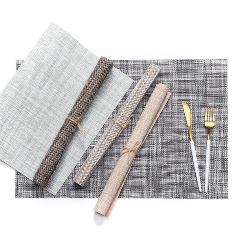 45*30cm Table Mat PVC Western Style Food Mat Linen Non Slip Heat Insulation Placemat Tesling Placemat A03