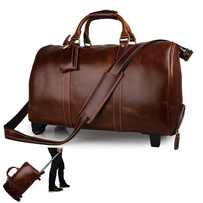 Мужской кожаный чехол кожаный троллейбушка лошадь 20 дюйма багаж большой сумасшедший сумка с колесами коровьей путешествия подлинные выходные коричневые HXBJA