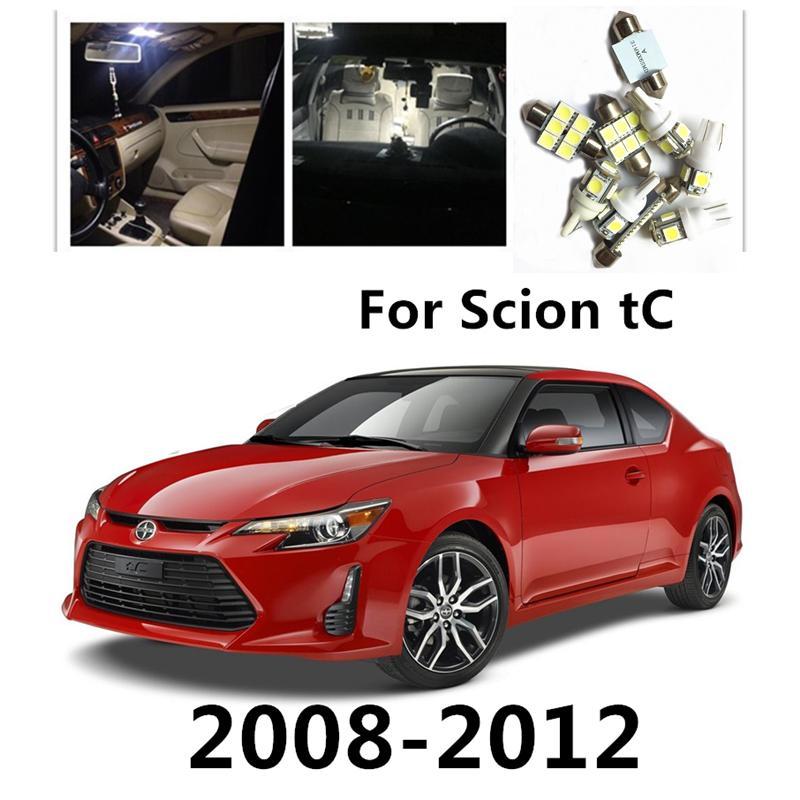 JGAUT for shion tc 2008-2012 8 قطع الأبيض الأحمر الأزرق سيارة أدى ضوء المصابيح الداخلية حزمة كيت قبة أضواء لوحة ترخيص ضوء خريطة
