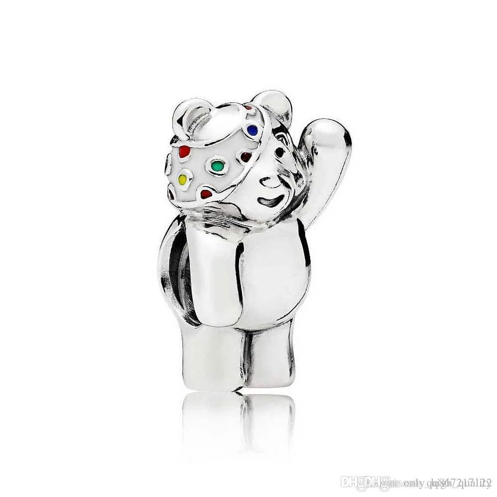 High quality 925 sterling silver new popular bear wave Charm Bead DIY women's bracelet jewelry wholesale, suitable for women's Par