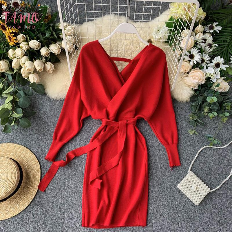 Autumn Winter Women Knitted Sweater Dress 2020 New Korean Long Batwing Sleeve V Neck Elegant Dress Ladies Bandage Dress