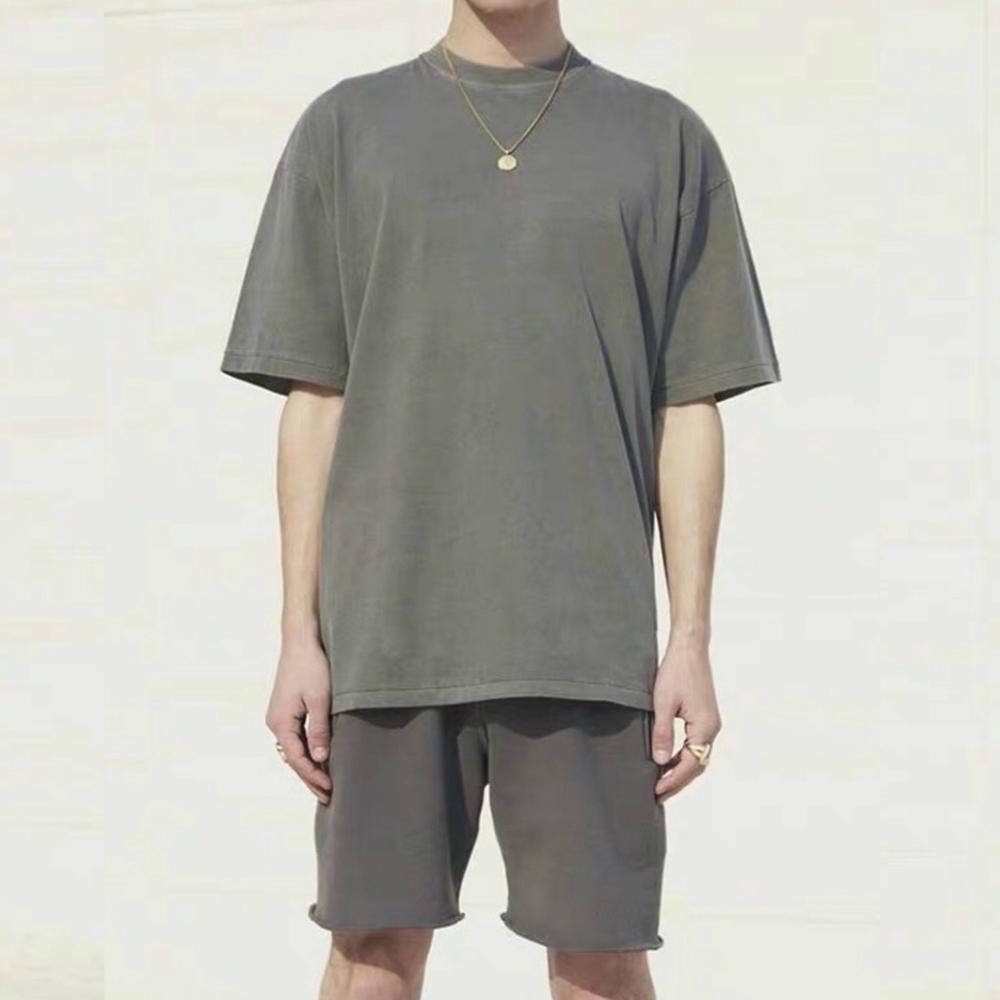 Расслабленная бедра короткие уличные одежды качества футболки летнее высокое подходящее футбол рукав хоп промытый хлопок Grgeo