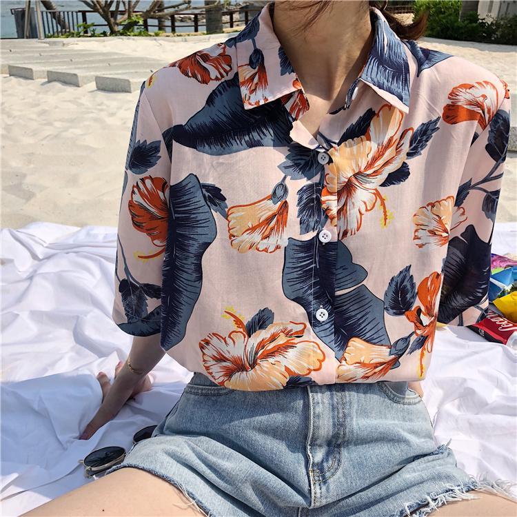 Женщины Старинные Печатные Футболки Корейский С Коротким Рукавом Повседневная Blusas Гавайский Пляж Блузка Топы Рубашки