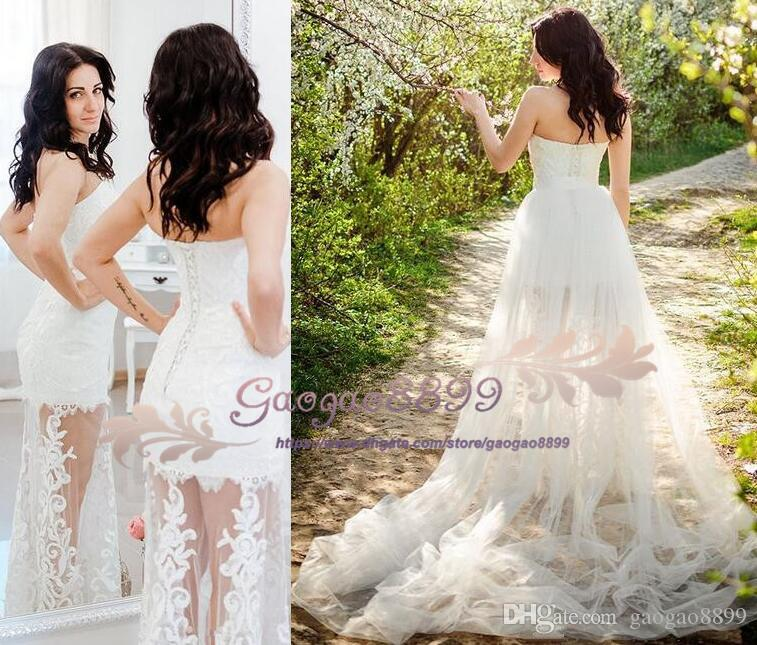 2019 Country two pieces Wedding Dresses With Detachable Train Bridal Gowns sweep train with lace appliques garden Bohemian Wedding Gowns