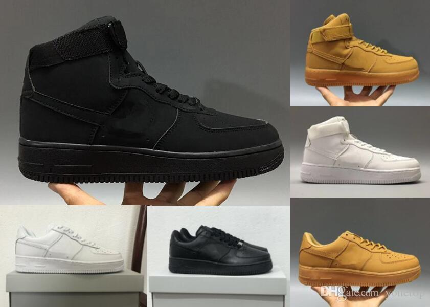 Nike air max force fly Heißer Großhandelsverkauf niedrige Luft-Kissen-laufende Schuhe für Männer die reinen weißen Sport-Trainer-Frauen-Entwerfer-Schuhe
