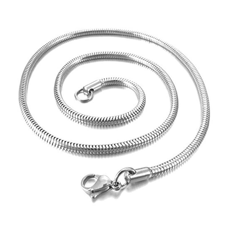 3,2 mm Largeur en acier inoxydable Collier serpent maillon de chaîne d'argent motocycliste Biker