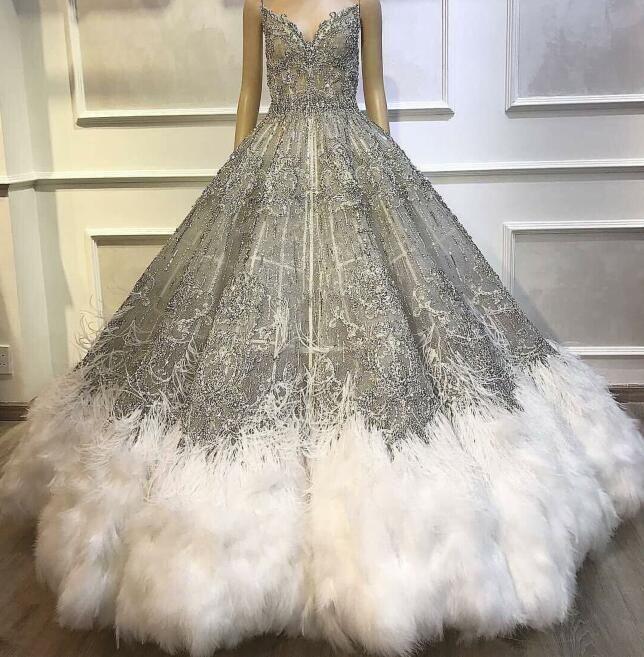 Evening dress Yousef aljasmi Kim kardashian Grey Sweetheart Lace Feather Ball gown long dress Brown Zuhair murad Ziadnakad 0012
