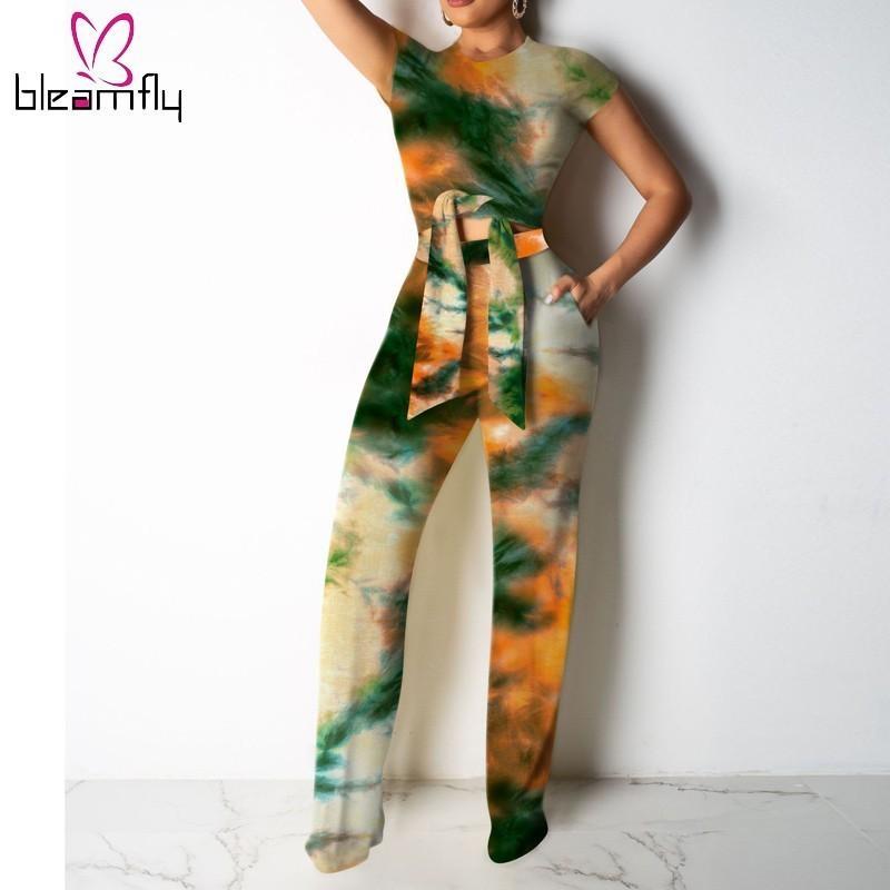 Vestiti estivi per le donne 2 piece set Bassiera e pantaloni gamba larga Plus Size Sexy Club rifornisce due set parte di corrispondenza 2019