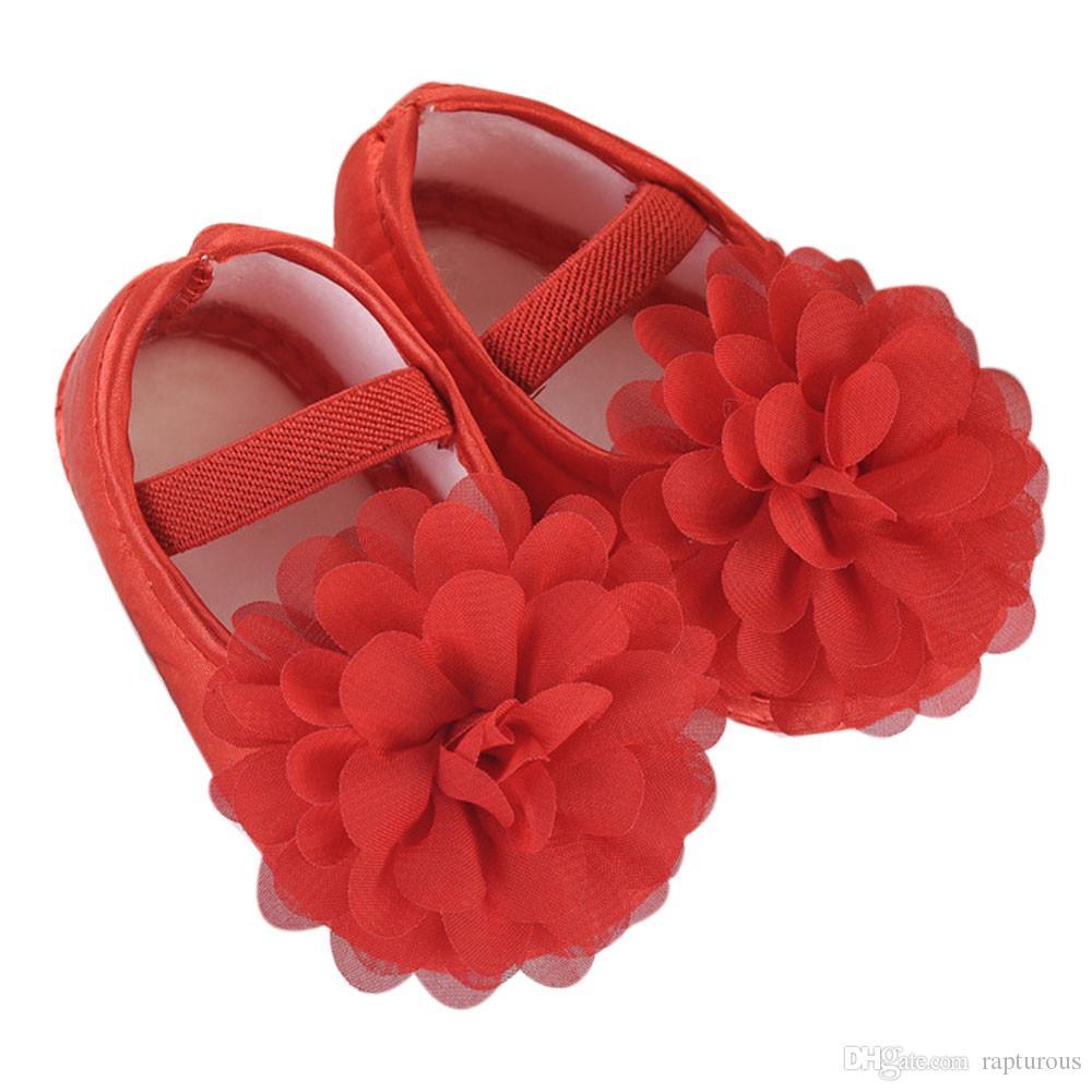 Arbeiten Sie bequemem-Kleinkind-Baby-Chiffon- Blumen-elastisches Band Newborn-Walking-Schuhe