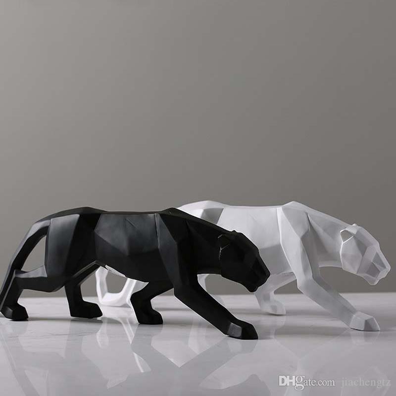 Kreative Moderne Abstrakte Black Panther Skulptur Geometrische Harz Leopard Statue Wildlife Decor Geschenk Handwerk Ornament Zubehör Möblierung