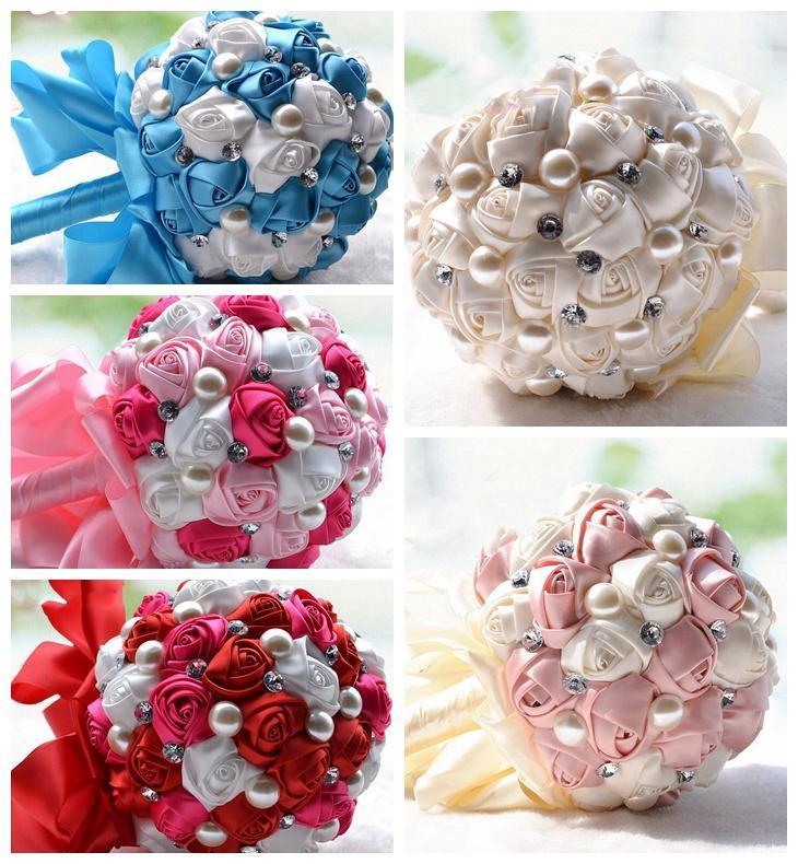 Bridal Wedding Bouquet Artificial Cream Fuchsia Blue Bridesmaid Flower Crystal Pearl Silk Rose Wedding Decoration Cheap