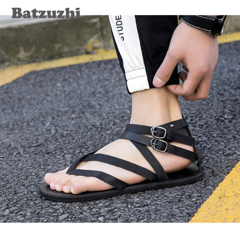 Classic Mens Sandals Summer Genuine Leather Male Beach Sandals Soft Comfortable Male Outdoor Beach Man Gladiator, 38-46