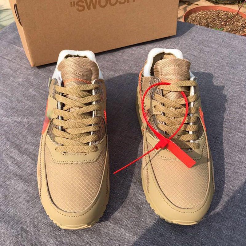 Off-White x Nike90 Mit Box 2018 Discount Classic 90 V2 Desert Ore Laufschuhe Herren Schwarz Sport Turnschuhe Designer Schuh Outdoor Jogging-Schuhe