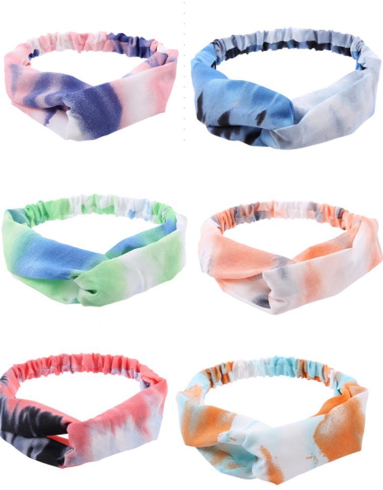 Moda Kadınlar Tie-boyalı Kafa Doğa Sporları Moda Saç Bandı hairbands Kafa Bandı Çapraz Knot Elastik Headwrap Saç Aksesuarları D61606