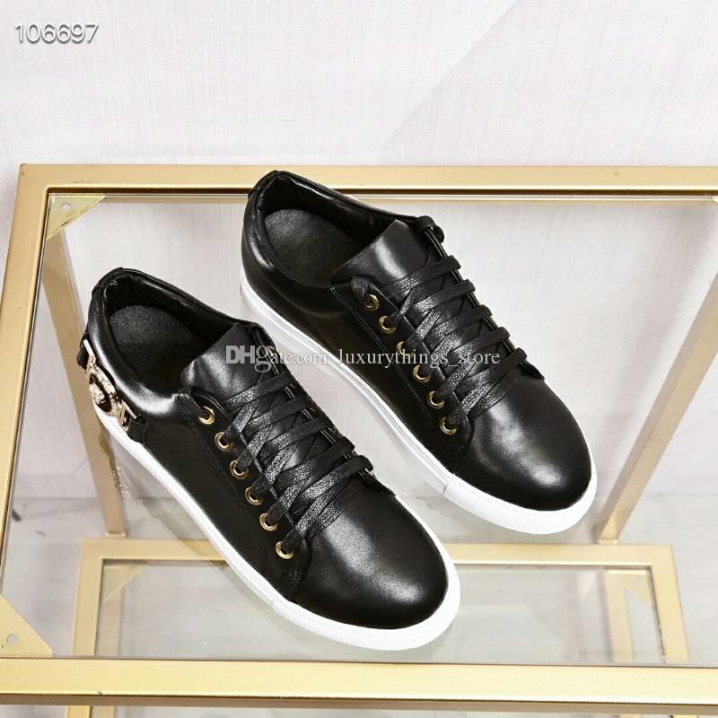 2019 новое прибытие мода мужские женщины твердые повседневная обувь роскошный дизайн высокое качество натуральная кожа обувь бесплатная доставка размер: мужчина/женщина 35~45.