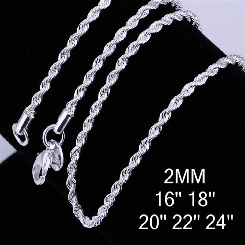 925 Sterlingsilber-Torsion-Seil Ketten-Halsketten-Schmucksachen DIY Art und Weise Frauen Geschenke Gliederkette Großhandel 2mm