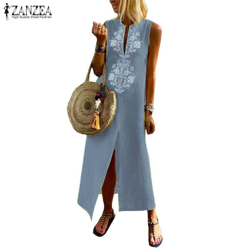 2019 ZANZEA 여성 여름 Boho 플로랄 프린트 민소매 롱 드레스 캐주얼 스플릿 밑창 파티 Vestido Femme Sarafans Dresses Robe