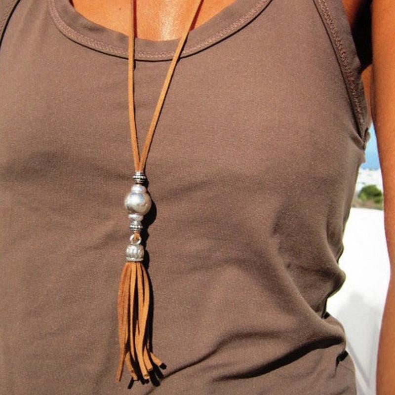 Collana in argento placcato Boho Collana lunga corda perline lega nappa per le donne accessori maglione gioielli all'ingrosso