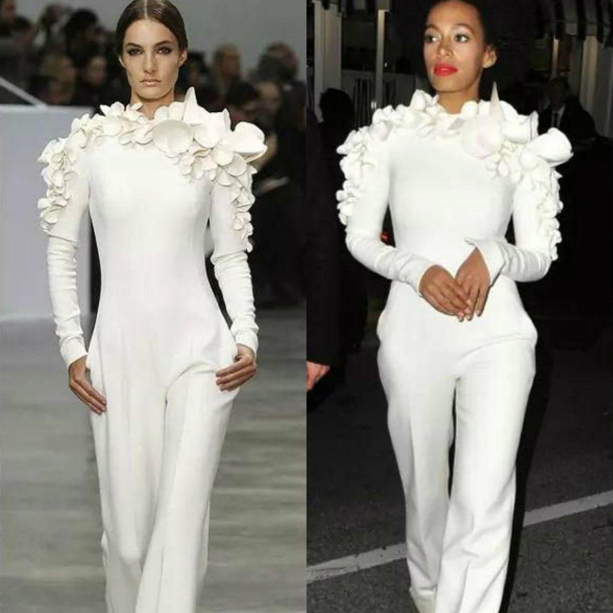 Chic White Arab Celebrity Abendkleider 3D Appliques 2019 Overall mit langen Ärmeln Dubai Abendkleid Stehkragen Formale Partykleid nach Maß