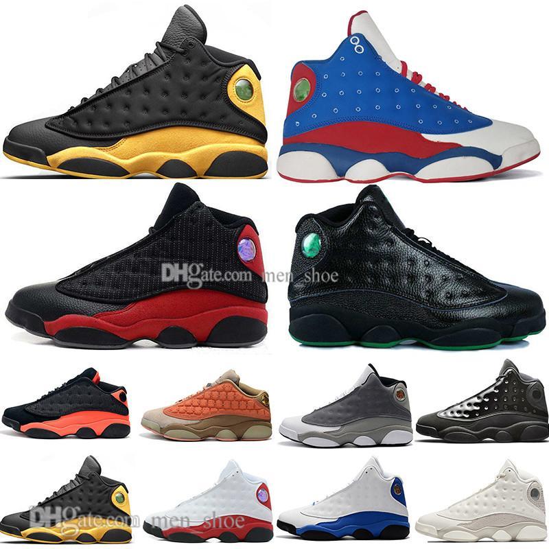 13 nuevos 13s casquillo y del vestido de los zapatos de baloncesto de los hombres Atmósfera gris terracota Blush Black Cat Pedernales infrarrojos Bred NakeskinJordánRetros