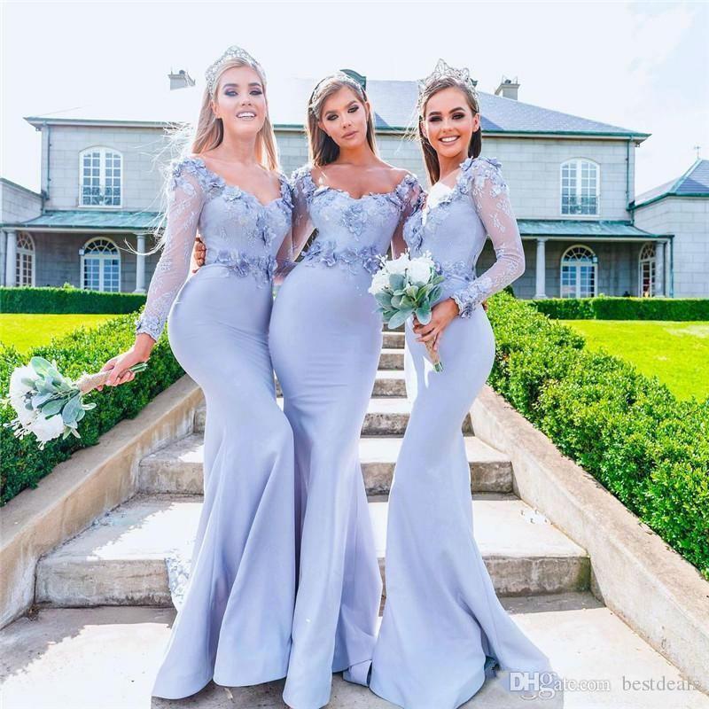 2019 spitze Meerjungfrau Brautjungfer Kleider Langarm 3D Blumenapplikationen Sweep Zug Abendkleid Cocktail Party Prom Kleiderinnen