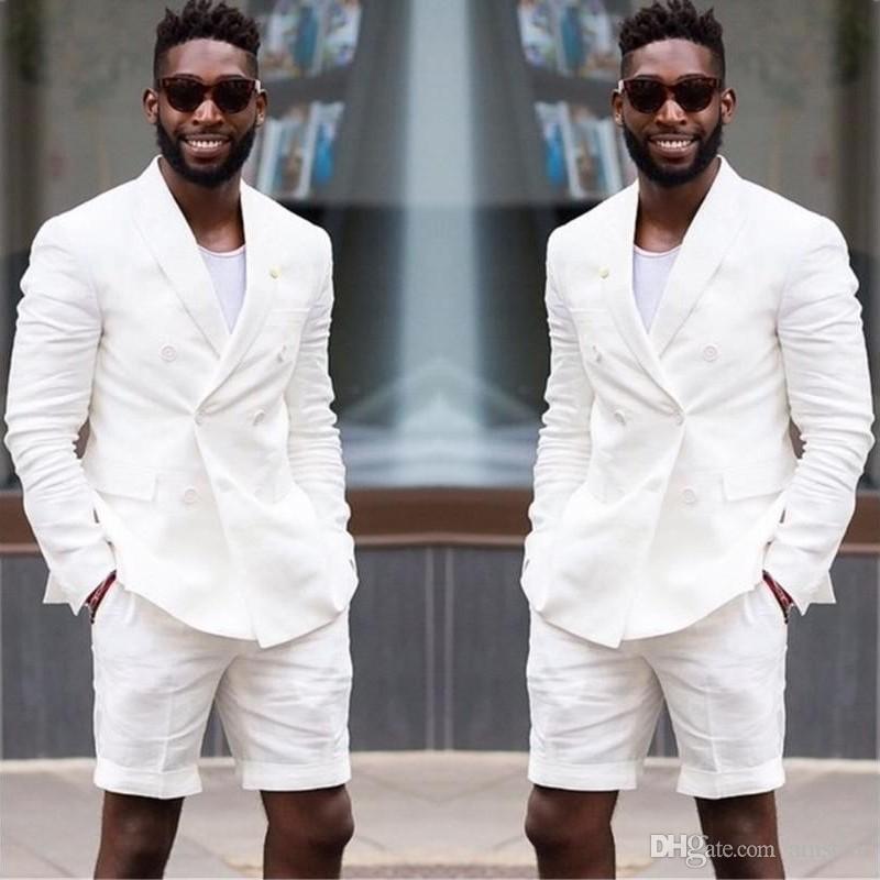 Por encargo 2019 Pantalones cortos Estilo Marfil Blanco Hombres Traje Slim Fit Casual 2 piezas Playa Trajes de boda Fiesta Tuxedo guapo (chaqueta + pantalones) ZQ